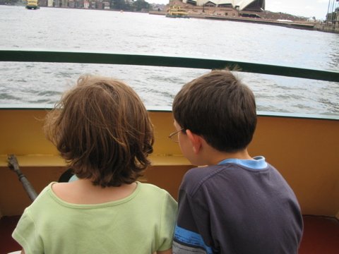 Kids on the ferry