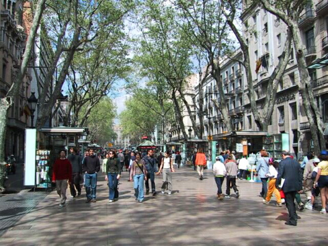 Walking down Las Ramblas