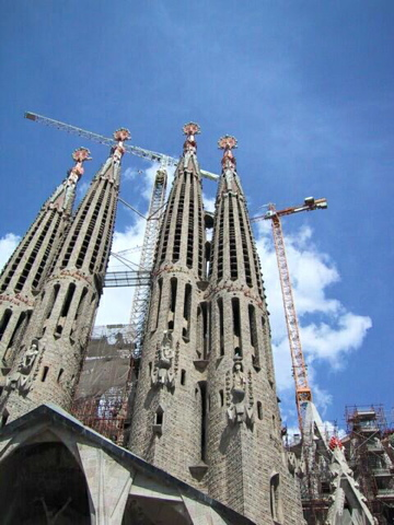 Four of the Sagrada's towers