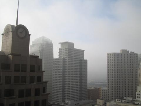 Fog blowing away